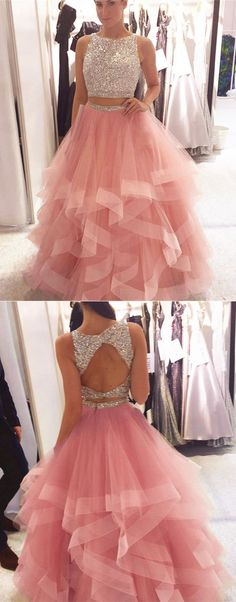 Exquisite Sequin Beaded Prom Dress, Organza Ruffles Prom Dresses,Two Piece Pink Prom Dress