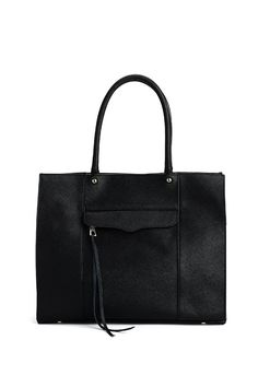 Medium M.A.B. Tote - This structured tote transitions seamlessly from desk to drinks. It's crafted from textured saffiano leather and features exterior and interior zip pockets as well as an interior card slot. The minimalist design gives it a seasonless appeal.