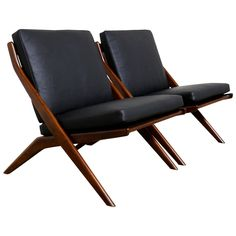 """Pair of Leather Folke Ohlsson """"Scissor"""" Chairs 