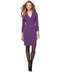 Spense Petite Dress, Three Quarter Sleeve Shawl Collar Sweater Dress