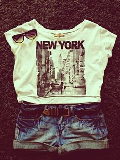 New York T-shirt| Short Jeans| Try This Out! Casual Summer Outfit Ideas