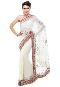 Buy Hand Embroidered Georgette Saree in Off White online,Item code: SAR883, Occasion: Party, Work: Bead Work, Contemporary, Stone Work, Fabric: Georgette, Gender: Women