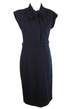 Classy Moschino Women's Blue Sleeveless Sheath Dress Size 44 Regular Item Size: 44 Material Contents: Virgin Wool Blend Main Color: Blue