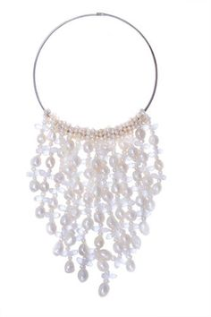 Handmade Exaggerate Freshwater Pearl Tassels Necklace White at Saintchristine.com