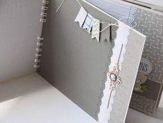 Grey and white mini Mini Albums Scrap, Mini Scrapbook Albums, Baby Scrapbook, Mini Photo Books, Mini Books, Paper Bag Album, Thanks Card, Diy Notebook, Smash Book