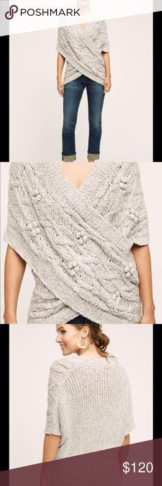Anthropologie Sleeping on Snow sweater Anthropologie Sleeping on Snow cabled crossover sweater wrap. Size tag reads M/L P Anthropologie Sweaters V-Necks