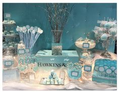 Hostess with the Mostess® - Tiffany Themed Wedding - Candy and Dessert Buffet  pinned by www.sweeteventdesign.com  colors-  tiffany blue, white, silver, aqua blue  theme-  tiffany, glamour  occasion-  wedding, bridal shower