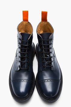 JUNYA WATANABE Navy Leather Steer Quarter Brogue Super Boots #shoes #boots #menswear