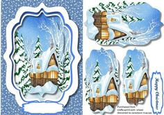 Lovely Christmas Cottage in the snow Pyramid  on Craftsuprint designed by Ceredwyn Macrae - A lovely card to make for Christmas Lovely Cottage in the snow a lovely Pyramid card has one Greeting tag and a blank one for your choice , - Now available for download!