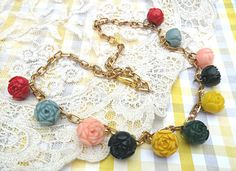 necklace cottage rose celluloid assemblage by lilyofthevally