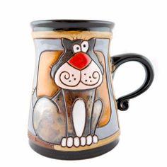 Handmade Pottery Animal Mug 11oz Grey Cat Mug