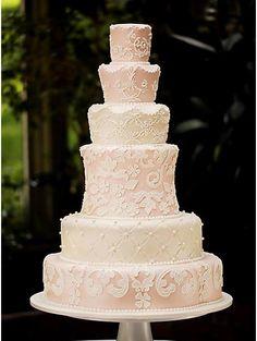 Multi-Tiered Pastel Lace Wedding Cake | Cakes & Lace, Elegant Cakes, Wedding Cakes | Beautiful Cake Pictures