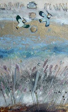 I see lapwings as I drive to work. These are by Ingebjorg Smith. Illustration Art, Illustrations, Watercolor Bird, Kingfisher, Bird Art, Mixed Media Art, Cherry Blossom, Scotland, Art Ideas