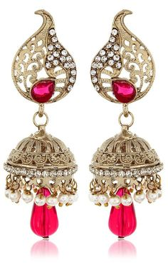 c21a83a2e20 Special For Mother s Day Gift Beautiful Pink Stone Indian Ethnic Jhumki  Earring
