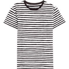Marc by Marc Jacobs Striped Cotton T-Shirt ($69) ❤ liked on Polyvore featuring tops, t-shirts, multicolor, white t shirt, slim t shirt, slim fit t shirts, white cotton t shirts and white cotton slip