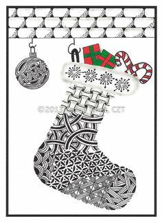 Zentangle Inspired Christmas Cards - 5 x 7 inch cards - set of 4 cards