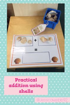 Practical addition using shells. EYFS