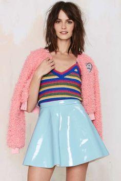 Glamorous Spin Around Vinyl Skirt - Blue - Clothes