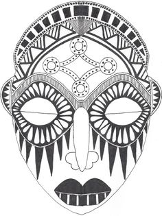 African Mask drawing by RileyWestgaardDesign on Etsy, $32.00 Can find it on my Etsy!                                                                                                                                                                                 Mais