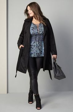 City Chic Trench, Top & Jeans Outfit with Accessories (Plus Size) available at #Nordstrom