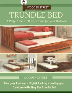 Trundle Beds – Give your Bedroom an exclusive look with Twin Size Trundle Bed available @ Wooden Street in discount price. Accommodate your guests easily with these Trundle Beds even if you have low space. Wooden Trundle Bed, Daybed With Trundle, Wooden Street, Beds Online, Full Bed, Kid Beds, Discount Price, Bed Design, King Size