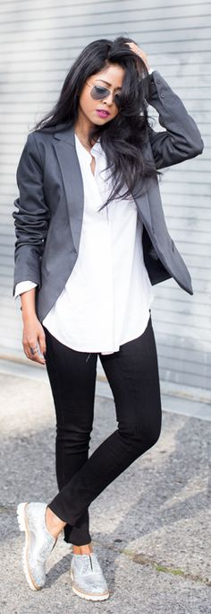 Street Style January: Sheryl Luke is wearing a grey blazer from G Star, black skinny jeans from A & C, silver glitter brogues from L'F Shoes and the white shirt is from Nordstrom