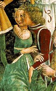 My green linen dress w/ my black embroidered sleeves!  Can't seem to get enough green and black, hehe.  (from The Triumph of Venus, Franchesco Cossa, 1470)