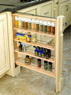 Rev-A-Shelf Wood Base Cabinet Pullout Filler w/ Adjustable Shelves - Contemporary - Kitchen Drawer Organizers - by HomeProShops Kitchen Base Cabinets, Inside Cabinets, Kitchen Cabinet Remodel, Kitchen Cabinet Organization, Kitchen Drawers, Cabinet Organizers, Oak Cabinets, Cabinet Storage, Drawer Organisers