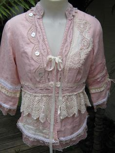 ROMANTIC.. upcycled jacket, Vintage Kitty ..gorgeous dusky pink linen.. doilies, lace, roses