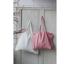 Large Linen Bag Pink Tote Bag  Hand Made Reusable by SondeflorShop