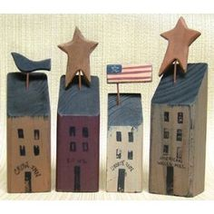 Primitive Houses made from wood blocks Primitive Folk Art, Primitive Crafts, Country Primitive, Primitive Mantels, Saltbox Houses, Bird Houses, Block Painting, House Painting, House Shelves