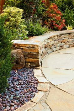Stone Wall And Bench   LiquidAmbar Garden Design