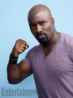 Luke Cage: Mike Colter at San Diego Comic Con 2016 (SDCC) (photo via Entertainment Weekly) Man Movies, Comic Movies, Mike Colter, Bald With Beard, Power Man, Luke Cage, Superhero Movies, San Diego Comic Con, Gorgeous Men