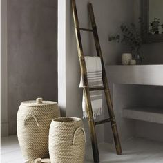 Bamboo Ladder Towel Rack for the Bathroom. I'd love to do a DIY ladder like this! Bathroom Inspiration, Interior Inspiration, Natural Modern Interior, Ladder Towel Racks, Towel Storage, Towel Shelf, Storage Baskets, Bamboo Ladders, Bathroom Ladder