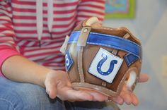 Colts Football Aviator Style  Cranial Band/Helmet/DOC band  https://www.facebook.com/pages/Cranial-BandsMurals-by-Leigh-Gibson/153150921414230