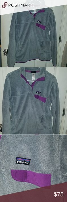 Patagonia Pullover Grey & Purple patagonia! In perfect condition. Size Large! Patagonia Jackets & Coats