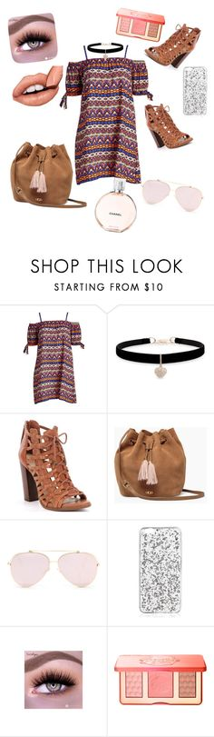"""""""Dress Under $100"""" by kenzie005sos ❤ liked on Polyvore featuring Betsey Johnson, UGG, Too Faced Cosmetics, Chanel and plus size dresses"""