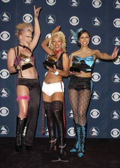 "After performing with Patti LaBelle earlier in the night, P!nk, Christina Aguilera, Lil Kim, Miss Mýa won Best Pop Collaboration With Vocals (""Lady Marmalade"") at the 44th #GRAMMYs in 2002"