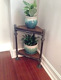 Industrial Pipe Corner Plant Stand by IndustrialHomeBazaar on Etsy