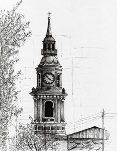 dibujo, blanco y negro, tinta, torre, iglesia, reloj Croquis Drawing, Sketches Arquitectura, Pencil Drawings, Big Ben, Clock, Deco, Architecture, Building, Inspiration