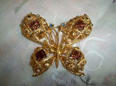 Vintage Avon Golden Butterfly Rhinestone Brooch by BlackRain4, $24.99