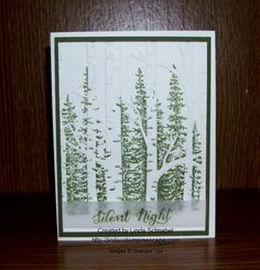 "By Linda Schnabel. Stamp trees from ""Wonderland"" onto the inside front of the ""Woodland"" embossing folder. Insert white cardstock; dry emboss. Add stamped sentiment on vellum strip, green mat, and white card base."