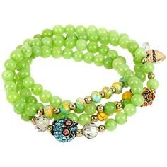 Betsey Johnson Semi Precious Owl Stretch Bracelet And Necklace ($42) ❤ liked on Polyvore featuring jewelry, necklaces, green, long strand necklace, bead bracelet, bead necklace, stretch bracelet and long beaded necklace