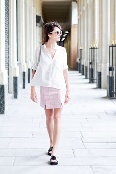 A peek into how the french blogger fashion is a playground wore our Perdy shirt from SS14. We are loving the Shirley, a similar style from our FW14 collection www.annefontaine.com #annefontaine #fashion