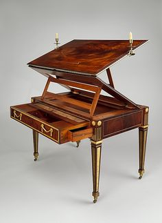 Architect's table by Roentgen - ca. 1780-1795. Changes from a flat desk to a sloping one for client's art/architecture needs.