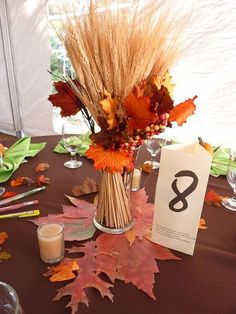 Wheat and Maple Fall Wedding Centerpieces