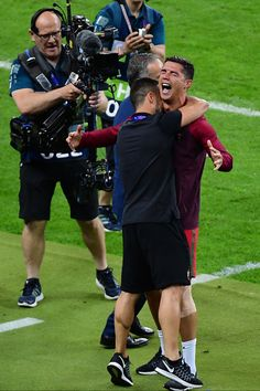 Joy for Cristiano Ronaldo of Portugal as his team win the European Championship Final between Portugal and France at Stade de France on July 10 Cristano Ronaldo, Cristiano Ronaldo Cr7, Neymar, Football Love, World Football, Portugal National Football Team, We Are The Champions, Soccer Stars, Sports
