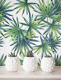Watercolor Palm leaves Wallpaper Removable Wallpaper by Jumanjii