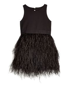 Blaire Feather-Skirt Sleeveless Dress, Black, Size 8-14 - Milly Minis