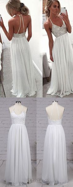 Lace Prom Dresses, White Prom Dresses, A-line Prom Dresses V-neck, Chiffon Prom Dresses with Appliques, Modest Prom Dresses For Teens Senior Prom Dresses, Prom Dresses For Teens, Prom Dresses 2018, Formal Evening Dresses, Trendy Dresses, Nice Dresses, Casual Dresses, Long White Formal Dresses, Dress Formal